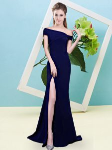 Fabulous Royal Blue Zipper Off The Shoulder Ruching Court Dresses for Sweet 16 Elastic Woven Satin Sleeveless