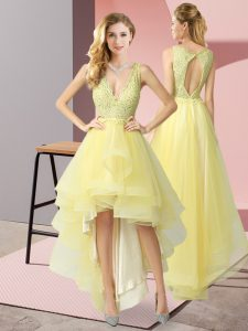 V-neck Sleeveless Backless Quinceanera Court of Honor Dress Yellow Tulle