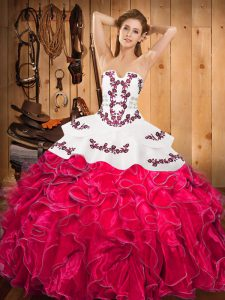 Simple Hot Pink Lace Up Quince Ball Gowns Embroidery and Ruffles Sleeveless Floor Length