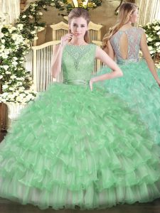 Pretty Ball Gowns Quince Ball Gowns Apple Green Scoop Tulle Sleeveless Floor Length Backless