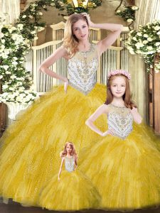 Gold Tulle Lace Up Scoop Sleeveless Floor Length 15th Birthday Dress Beading and Ruffles