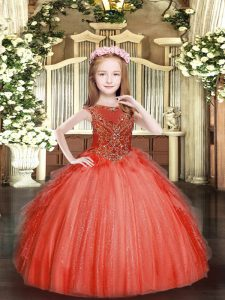 Beauteous Floor Length Zipper Pageant Dress Toddler Red for Party and Quinceanera with Beading and Ruffles