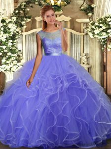 Admirable Scoop Sleeveless Quinceanera Dress Floor Length Lace and Ruffles Lavender Tulle