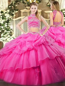 Hot Pink Two Pieces Tulle High-neck Sleeveless Beading and Ruffles and Pick Ups Floor Length Backless Ball Gown Prom Dress