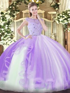 Colorful Lavender Sleeveless Floor Length Beading and Ruffles Zipper Quinceanera Gown