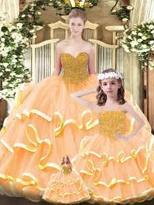 Luxurious Orange Sweetheart Lace Up Beading and Ruffled Layers Quinceanera Gown Sleeveless