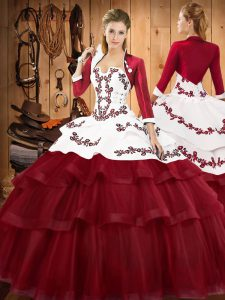 Sleeveless Sweep Train Lace Up Embroidery and Ruffled Layers Quinceanera Gown