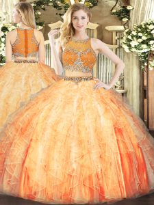 High Quality Floor Length Ball Gowns Sleeveless Orange Red 15th Birthday Dress Zipper