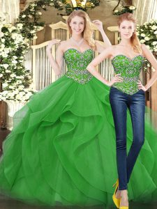 Green Tulle Lace Up 15th Birthday Dress Sleeveless Floor Length Beading and Ruffles
