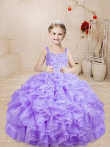 Lavender Sleeveless Organza Lace Up Pageant Dress Womens for Sweet 16 and Quinceanera