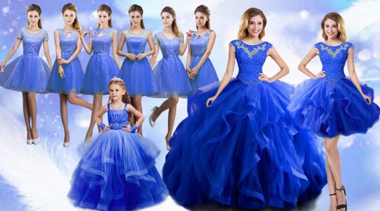 Glittering Blue Ball Gowns Organza Scoop Sleeveless Beading and Ruffles Floor Length Lace Up Quinceanera Dress