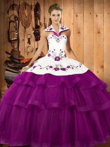 Admirable Sleeveless Sweep Train Embroidery and Ruffled Layers Lace Up Sweet 16 Dress