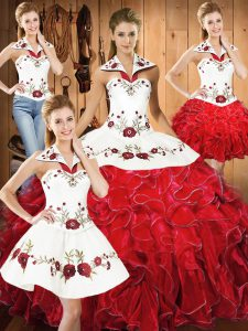 Sophisticated White And Red Lace Up Halter Top Embroidery and Ruffles Sweet 16 Dress Satin and Organza Sleeveless