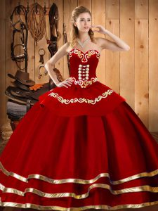 Floor Length Ball Gowns Sleeveless Wine Red 15th Birthday Dress Lace Up