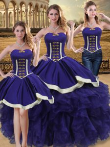 Purple Ball Gowns Beading and Ruffles Vestidos de Quinceanera Lace Up Organza Sleeveless Floor Length