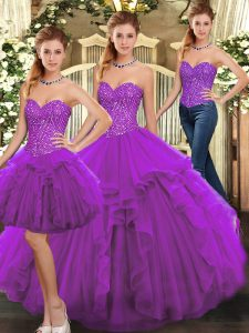 Pretty Purple Lace Up Sweet 16 Quinceanera Dress Ruffles Sleeveless Floor Length