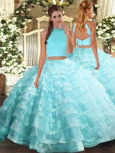Smart Sleeveless Floor Length Beading and Ruffled Layers Backless Ball Gown Prom Dress with Aqua Blue