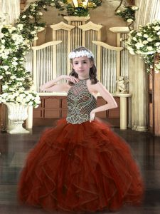 Rust Red Sleeveless Beading and Ruffles Floor Length Little Girls Pageant Gowns