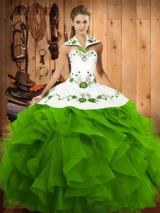 Ideal Floor Length 15 Quinceanera Dress Halter Top Sleeveless Lace Up