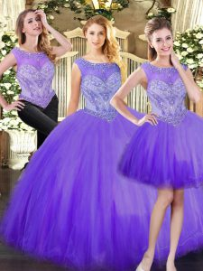 Superior Tulle Sleeveless Floor Length 15th Birthday Dress and Beading