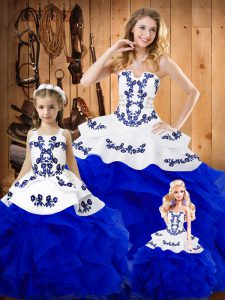 Floor Length Ball Gowns Sleeveless Royal Blue Quinceanera Dress Lace Up