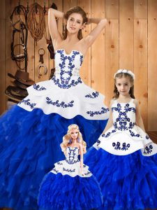 Superior Lace Sleeveless Floor Length 15th Birthday Dress and Embroidery and Ruffles