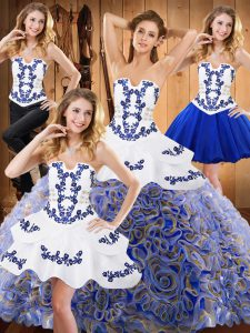Excellent With Train Ball Gowns Sleeveless Multi-color Ball Gown Prom Dress Sweep Train Lace Up