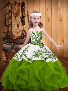 Super Olive Green Sleeveless Organza Lace Up Little Girl Pageant Gowns for Sweet 16 and Quinceanera