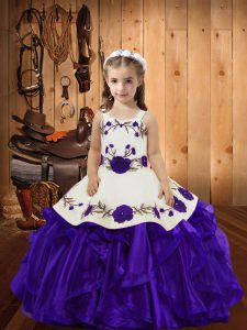 Discount Purple Sleeveless Embroidery and Ruffles Floor Length Girls Pageant Dresses