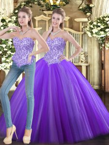 Custom Designed Eggplant Purple Sleeveless Floor Length Beading Lace Up Quinceanera Gown