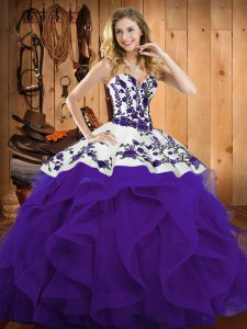 Stunning Sweetheart Sleeveless Sweet 16 Quinceanera Dress Floor Length Embroidery and Ruffles Purple Satin and Organza