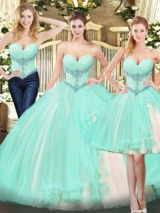 Beauteous Apple Green Three Pieces Sweetheart Sleeveless Organza Floor Length Lace Up Beading and Ruffles Quinceanera Gown