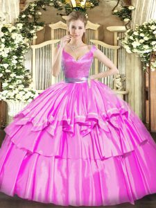 Sleeveless Beading and Ruffled Layers Zipper Vestidos de Quinceanera