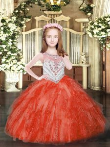 Scoop Sleeveless Pageant Dress Floor Length Beading and Ruffles Red Tulle