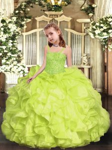 Low Price Yellow Green Ball Gowns Beading and Ruffles Little Girls Pageant Dress Wholesale Lace Up Organza Sleeveless Floor Length