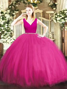 Fuchsia Zipper Sweet 16 Dresses Beading Sleeveless Floor Length