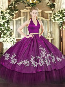 Best Fuchsia Sleeveless Appliques Floor Length Quinceanera Dress