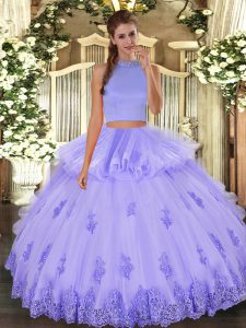 Lavender Halter Top Neckline Beading and Appliques and Ruffles Sweet 16 Dresses Sleeveless Backless