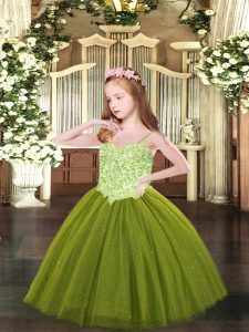 Customized Floor Length Ball Gowns Sleeveless Little Girls Pageant Dress Wholesale Lace Up