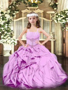 Sleeveless Organza Floor Length Lace Up Little Girls Pageant Gowns in Lilac with Beading and Ruffles