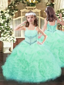 Floor Length Ball Gowns Sleeveless Apple Green Pageant Dress Toddler Lace Up