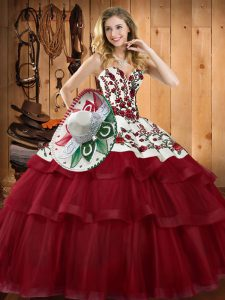 Wine Red Sweetheart Neckline Embroidery Quinceanera Gowns Sleeveless Lace Up