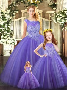 Lavender Ball Gowns Scoop Sleeveless Tulle Floor Length Lace Up Beading Sweet 16 Dresses