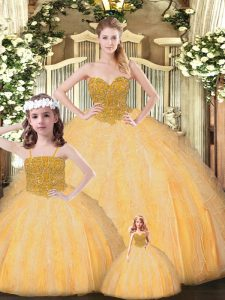 New Arrival Gold Tulle Lace Up Quinceanera Dress Sleeveless Floor Length Beading