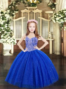 Royal Blue Sleeveless Floor Length Beading Lace Up Little Girls Pageant Dress