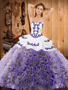 Embroidery Ball Gown Prom Dress Multi-color Lace Up Sleeveless With Train Sweep Train