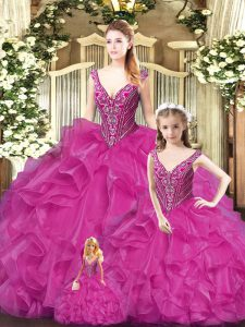 Luxurious Fuchsia Straps Neckline Beading and Ruffles Quinceanera Dress Sleeveless Lace Up