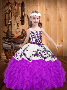 Purple Straps Lace Up Beading and Embroidery and Ruffles Pageant Gowns For Girls Sleeveless
