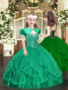 Turquoise Tulle Lace Up Little Girls Pageant Gowns Sleeveless Floor Length Beading and Ruffles