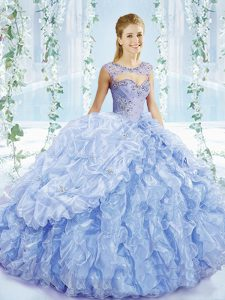 Sleeveless Beading and Ruffles and Pick Ups Lace Up Vestidos de Quinceanera with Blue Brush Train